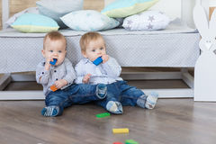 Boy twins playing Royalty Free Stock Images