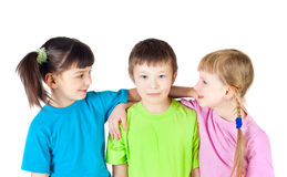 A boy among two girls Royalty Free Stock Photography