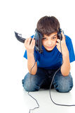 Boy with two joysticks Stock Photography