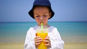 Boy of two years drinking mango fresh on the beach on the background of the ocean. royalty free stock images