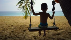 Boy of two years swings on a swing on the beach near the ocean. Boy of two years swings on a swing on the beach near the ocean stock video