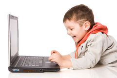 Boy typing Royalty Free Stock Images
