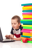 Boy typing on laptop Royalty Free Stock Images