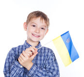 A  boy with ukrainian flag Royalty Free Stock Image
