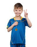 Boy in ukrainian national soccer uniform royalty free stock images