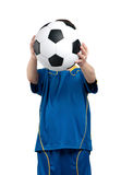 Boy in ukrainian national soccer uniform Stock Photo