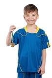 Boy in ukrainian national soccer uniform Royalty Free Stock Photos