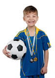 Boy in ukrainian national soccer uniform Royalty Free Stock Photo
