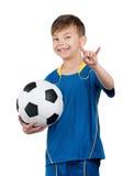 Boy in ukrainian national soccer uniform Royalty Free Stock Images