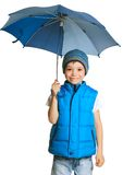 Boy with umbrella Stock Photos
