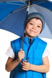 Boy with umbrella Stock Images