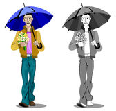 Boy with umbrella and flowers. Vector illustration of a boy walking under an umbrella while carrying a bouquet of flowers, in both color and monochrome Stock Photos