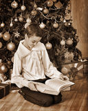 Boy under on Christmas tree read book Royalty Free Stock Photography