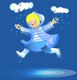 Boy under rain Royalty Free Stock Image