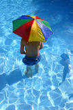 Boy Under Umbrella. Boy in pool under sun umbrella Royalty Free Stock Photo