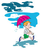 The boy under an umbrella Royalty Free Stock Photo