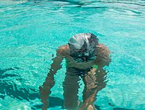Boy underwater from above view Royalty Free Stock Photography