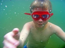 Boy Underwater in Lake Stock Image