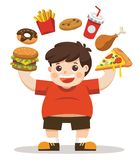 The Boy unhealthy body from eating junk food. He is happy to eat junk food. Unhealthy lifestyle concept vector illustration