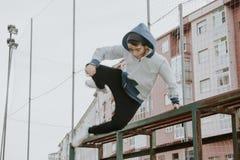 Boy urban parkour portrait Stock Photography