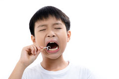Boy use toothpick Royalty Free Stock Photography