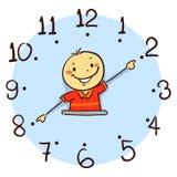 Boy using his arm as clock hand Stock Photo