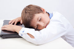Boy using his laptop computer Stock Photography