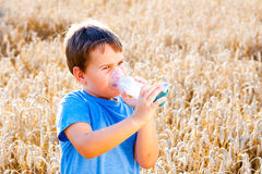 Boy using inhaler for asthma in grain Royalty Free Stock Image