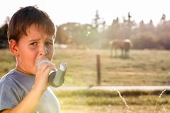 Boy using inhaler for asthma. In village with cows and sunset Royalty Free Stock Image