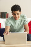 Boy Using Laptop Stock Images