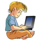 Boy using laptop cartoon illustration Royalty Free Stock Photos