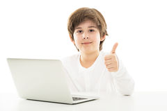 Boy using laptop Royalty Free Stock Photos