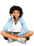 Boy Using Mobile Phone Stock Photo