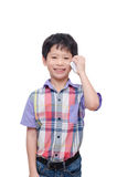 Boy using smart phone over white Stock Images