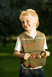 Boy (7-9) using top to collect apples, smiling Stock Photos