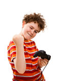 Boy using video game controller. Isolated on white background Stock Images