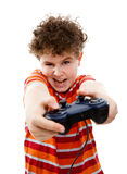 Boy using video game controller. Isolated on white background Royalty Free Stock Photo