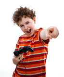 Boy using video game controller Royalty Free Stock Images