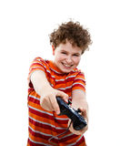 Boy using video game controller Stock Photography