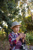 Boy using walkie talkie in the forest Royalty Free Stock Image