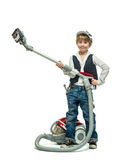 Boy with vacuum cleaner Royalty Free Stock Photo