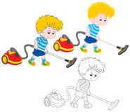 Boy with a vacuum cleaner. Little boy vacuuming with a red and yellow hoover, three versions of the illustration Stock Photos