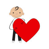 Boy  with valentine heart. Place your text Royalty Free Stock Image