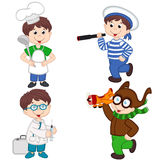 Boy in various professions cook, sailor, doctor, pilot Royalty Free Stock Photo