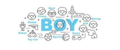 Boy vector banner Royalty Free Stock Image