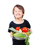 Boy with vegetables in hands. Is very happy Stock Photos