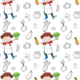 A boy and vegetables Royalty Free Stock Images