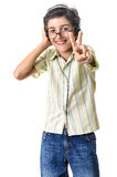 Boy victory sign headphones Royalty Free Stock Photo