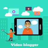 Boy Video Blogger with Smart Phone Royalty Free Stock Photo