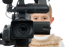 A boy with the video camera Stock Photography